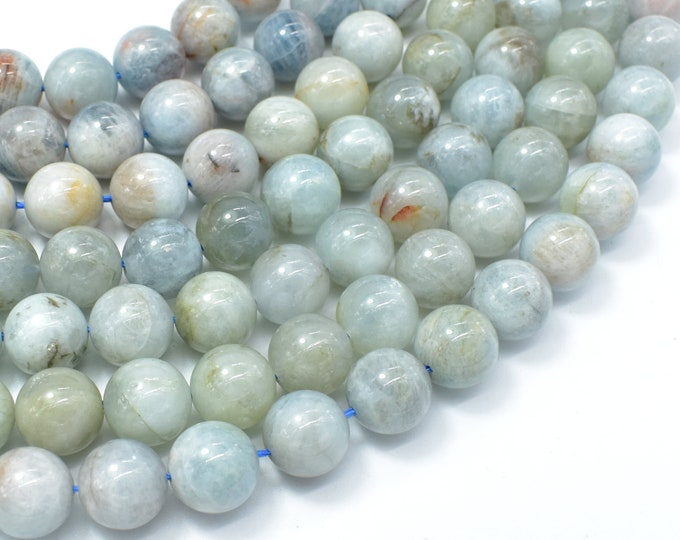 Aquamarine Beads, 10mm (10.5mm) Round Beads, 15.5 Inch, Full strand, Approx 38 beads, Hole 1mm (123054024)