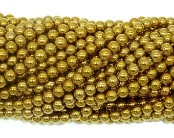 Hematite Beads-Gold, 4mm Round Beads, 16 Inch, Full strand, Approx 105 beads, Hole 0.8mm, AA quality (269054023)