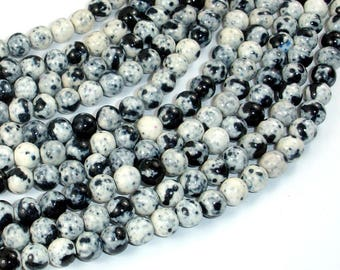 Rain Flower Stone Beads, Black, White, 6mm (6.5mm) Round Beads, 15.5 Inch, Full strand, Approx 63 beads, Hole 1mm, A quality (377054022)