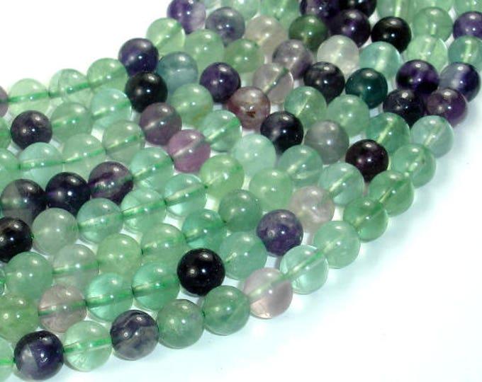 Fluorite, Rainbow Fluorite, 8mm (8.3mm) Round Beads, 15.5 Inch, Full strand, Approx 50 beads, Hole 1mm (224054023)