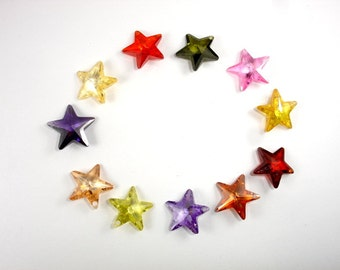 CZ beads, Cubic Zirconia Beads, 16x16mm Faceted Star Pendant Beads, 1 piece, Hole 1mm, A Grade (ST1616)