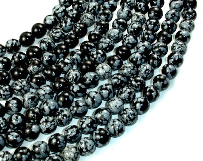 Snowflake Obsidian Beads, Round, 8mm (8.5mm), 15.5 Inch, Full strand, Approx 47 beads, Hole 1 mm, A quality (410054007)