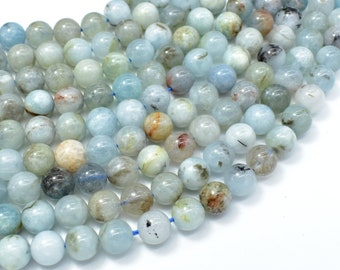 Aquamarine Beads, 8mm (8.2mm) Round Beads, 15.5 Inch, Full strand, Approx 47-49 beads, Hole 1mm (123054023)