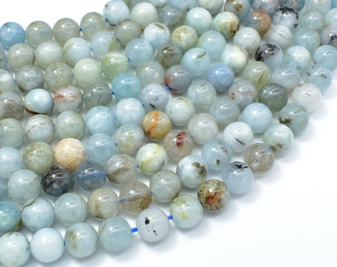 Aquamarine Beads, 8mm (8.2mm) Round Beads, 15.5 Inch, Full strand, Approx 47-49 beads, Hole 1mm (123054023)