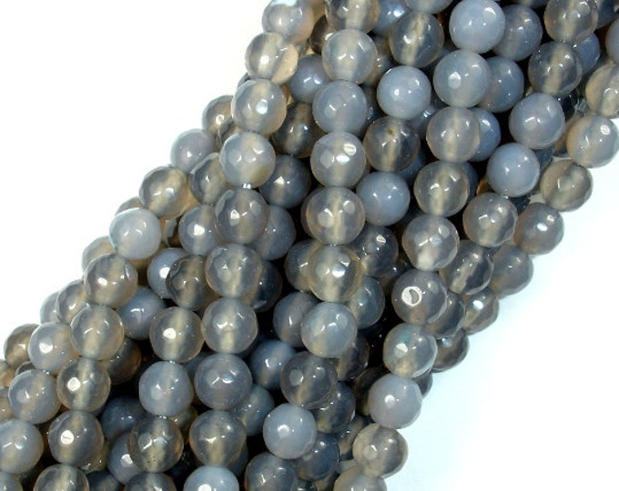 Gray Agate Beads, 6mm Faceted Round Beads, 14.5 Inch, Full strand, Approx 61 beads, Hole 1 mm, A quality (241025004)