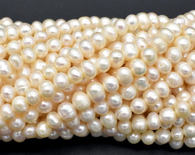 Fresh Water Pearl Beads-White, Approx 5-6mm Potato Beads, 14 inch, Full strand, Approx 68 Beads, Hole 0.6mm (232050025)
