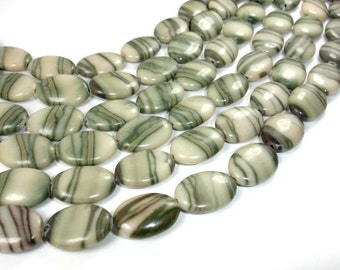 Zebra Jasper Beads, Oval, 13 x 18 mm, 15.5 Inch, Full strand, Approx 22 beads, Hole 1 mm, A quality (445030002)