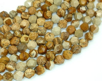 Picture Jasper Beads, 8mm Star Cut Faceted Round Beads, 15 Inch, Full strand, Approx 46 beads, Hole 1mm (345186001)