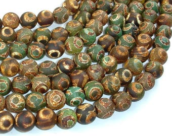 Matte Tibetan Agate Beads, Round, 10mm, 15 Inch, Full strand, Approx 38 beads, Hole 1 mm (122054126)