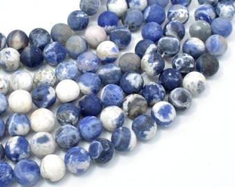 Matte Sodalite Beads, 10mm (10.5mm) Round Beads, 15 Inch, Full strand, Approx 38 beads, Hole 1mm, AB quality (411054025)