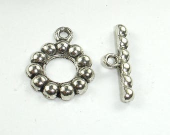 Metal Toggle Clasps , Antique Silver Tone, Ring 15x2mm, 6 sets, Hole 1.7mm (006871005)