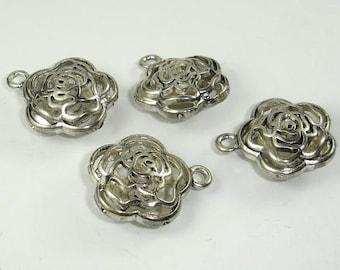 Metal Charms , Hollow Flower Pendant, Zinc Alloy, Antique Silver Tone, 2pcs, 20x10 mm, Hole 2.4mm (006868012)