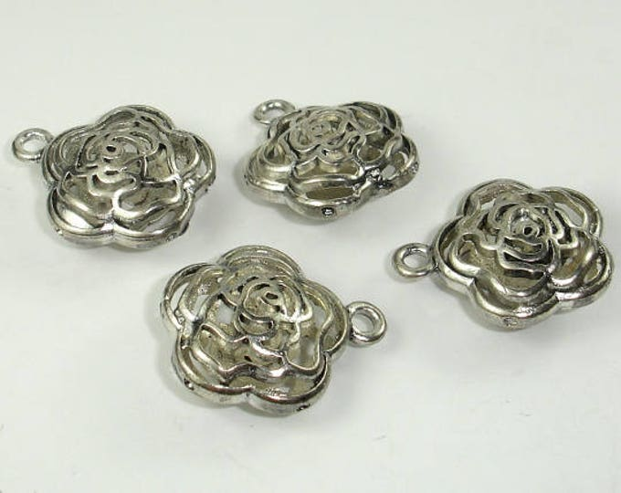 Metal Charms , Hollow Flower Pendant, Zinc Alloy, Antique Silver Tone, 2pcs, 20x10 mm, Hole 2.4mm (006868012)
