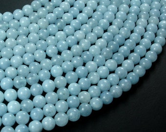Sponge Quartz Beads-Aqua, 6mm (6.5mm) Round Beads, 15 Inch, Full strand, Approx 60 beads, Hole 1mm, A quality (446054001)