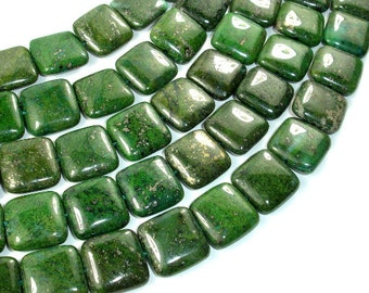 Green Chalcopyrite Beads, 16 x 16mm Square Beads, 15.5 Inch, Full strand, Approx 25 beads, Hole 1 mm (264056001)