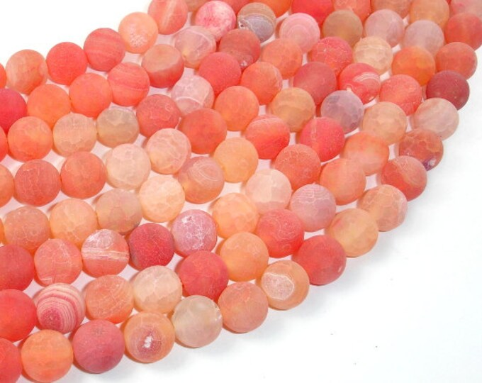 Frosted Matte Agate Beads, Orange, 10mm Round Beads, 14.5 Inch, Full strand, Approx 38 beads, Hole 1 mm (122054110)