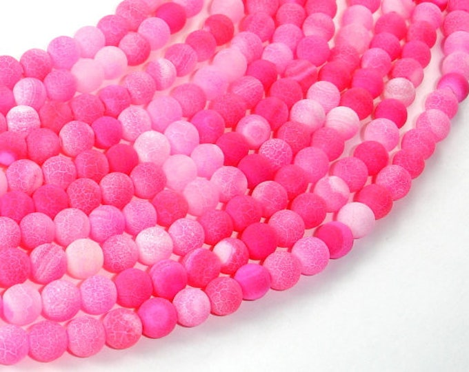 Frosted Matte Agate Beads-Pink, 6mm Round Beads , 14.5 Inch, Full strand, Approx 64 beads, Hole 1mm (122054039)