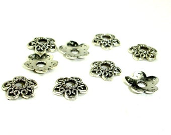 Bead Caps, Jewelry Findings, Zinc Alloy, Antique Silver Tone, 12 mm, 50 pcs, Hole 3 mm (006851013)