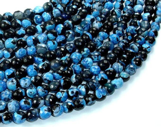 Agate Beads, Blue & Black, 6mm(6.3mm) Faceted Round Beads, 15 Inch, Full strand, Approx 63 beads, Hole 1mm (122025299)