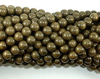 Green Silkwood Beads, 6mm(6.2mm) Round Beads, 26 Inch, Full strand, Approx 108 Beads, Mala Beads (011746002)