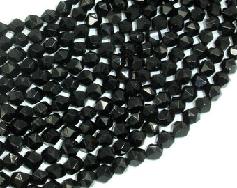 Black Onyx Beads, 6mm Star Cut Faceted Round, 14 Inch, Full strand, Approx 63 beads, Hole 1mm (140186001)