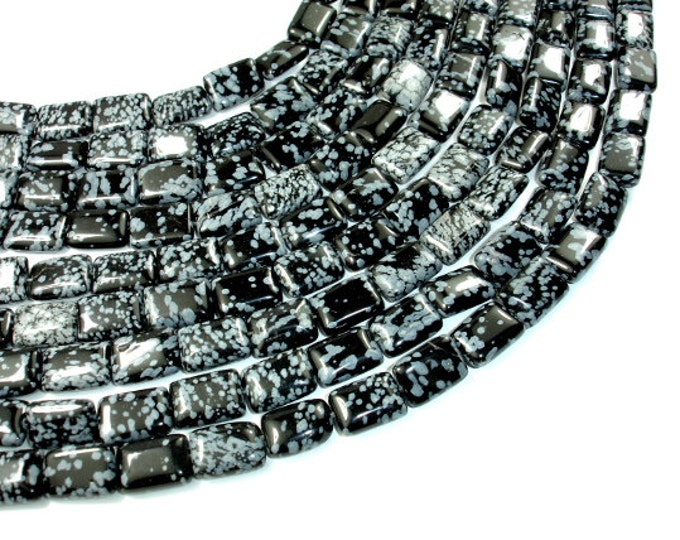 Snowflake Obsidian Beads, 10 x 14mm Rectangle Beads, 16 Inch, Full strand, Approx 28 beads, Hole 1 mm, AB quality (410033003)