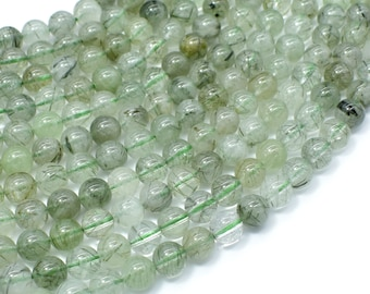 Green Rutilated Quartz Beads, 6mm Round Beads, 16 Inch, Full strand, Approx 68 beads, Hole 1mm (396054021)
