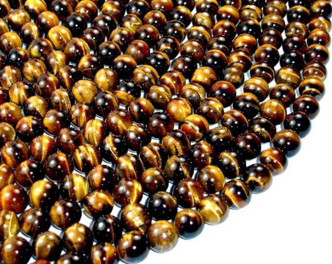 Tiger Eye, Round, 10mm, 15.5 Inch, Full strand, Approx 38 beads, Hole 1 mm (426054004)