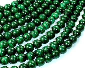 Natural Malachite, 8mm(8.3mm) Round Beads, 15.5 Inch, Full strand, Approx 50 beads, Hole 1mm (312054801)