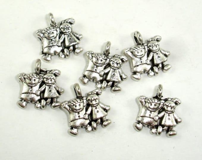 Girl and Boy Charms, Zinc Alloy, Antique Silver Tone, 11x13 mm, 20 pcs, Hole 2mm (006873084)