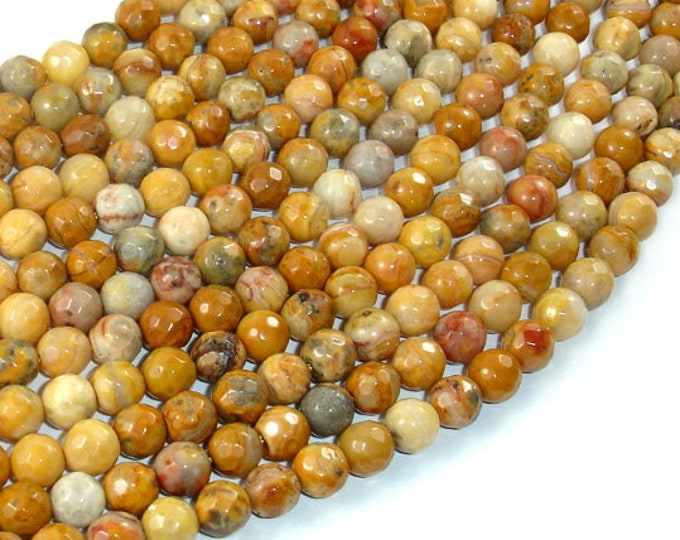 Crazy Lace Agate Beads, 6mm Faceted Round, 15 Inch, Full strand, Approx 61 beads, Hole 1mm, A quality (202025001)