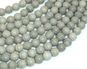 Gray Banded Jasper, 8mm (8.4mm) Round Beads, 15.5 Inch, Full strand, Approx 47 beads, Hole 1mm (288054038)