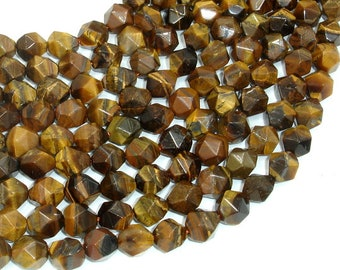 Tiger Eye Beads, 10mm Star Cut Faceted Round, 15 Inch, Full strand, Approx 37 beads, Hole 1mm (426186003)