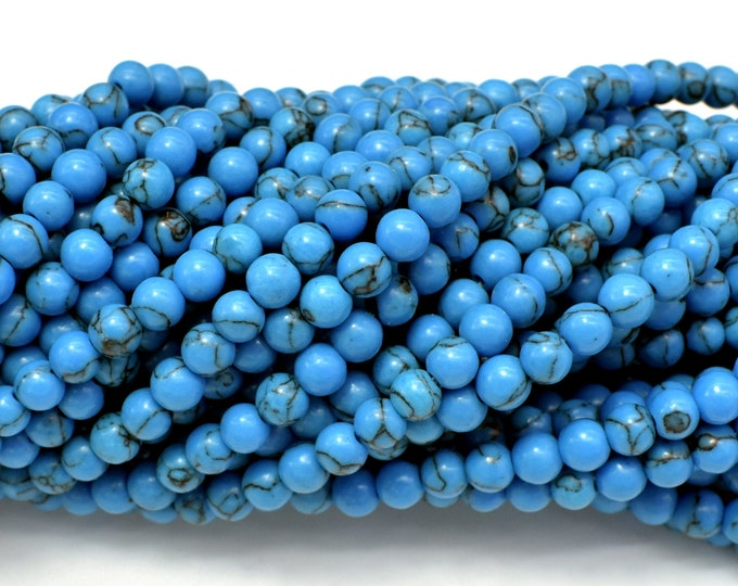 Turquoise Howlite Beads, Blue, 4mm (4.5mm) Round Beads, 15.5 Inch, Full strand, Approx 94 beads, Hole 0.8mm (213054019)