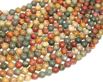 Picasso Jasper Beads, 6mm (6.5mm) Round Beads, 15.5 Inch, Full strand, Approx 62 beads, Hole 1 mm, A+ quality (344054002)