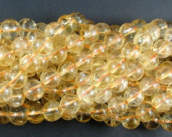 Citrine Beads, Approx 7.5mm Round Beads, 15.5 Inch, Full strand, Approx 52-53 beads, Hole 1mm (197054011)