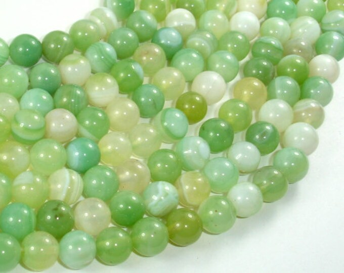 Banded Agate Beads, Light Green, 8mm Round Beads, 15 Inch, Full strand, Approx 48 beads, Hole 1mm, A quality (132054038)