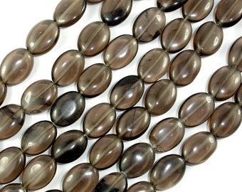 Smoky Glass Beads, 10x14mm Oval Beads, 16 Inch, Full strand, Approx 32 beads, Hole 1 mm (005822007)