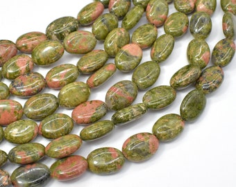 Unakite Beads, 10x14mm Oval Beads, 15 Inch, Full strand, Approx 27 beads, Hole 1mm (429030005)