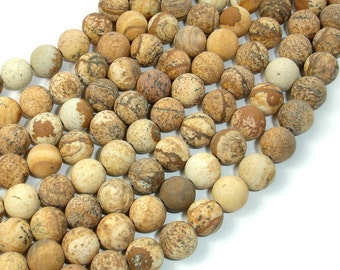 Matte Picture Jasper, 8mm (8.4 mm) Round Beads, 15.5 Inch, Full strand, Approx 48 beads, Hole 1 mm, A quality (345054007)
