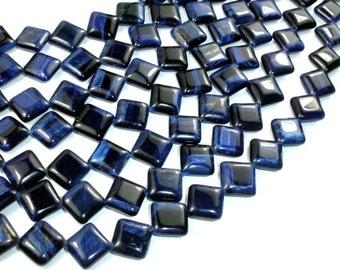 Blue Tiger Eye, 10 x 10mm Diamond Beads, 15 Inch, Full strand, Approx 32 beads, Hole 1 mm (426013003)