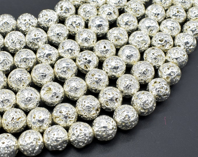 Lava-Silver Plated, 10mm (10.5mm) Round Beads, 15.5 Inch, Full strand, Approx 39 beads, Hole 1mm (300054051)