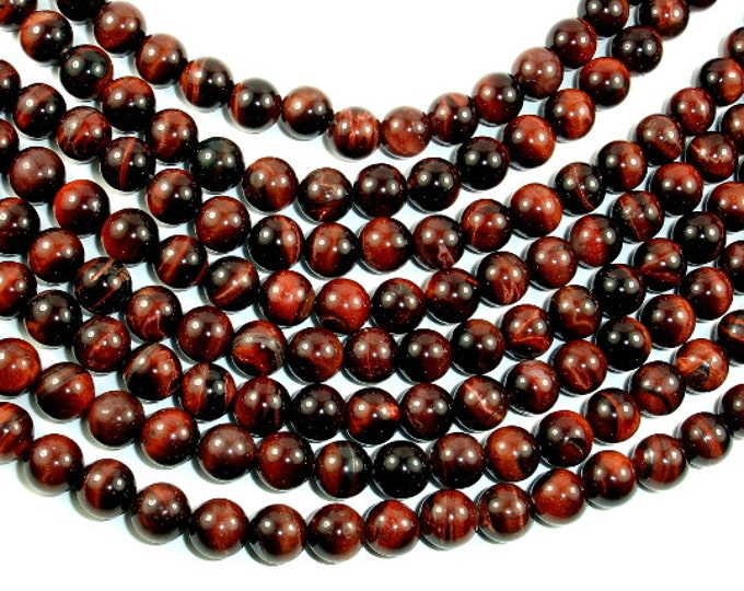 Red Tiger Eye Beads, 8mm (8.5mm) Round Beads, 15.5 Inch, Full strand, Approx 48 beads, Hole 1mm (383054014)
