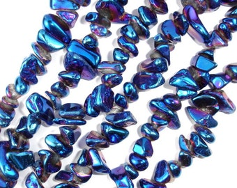 Coated Quartz Beads, Nugget Chips, Mystic Blue, Approx (7-14)mm, 15 Inch, Full stand, Approx 58-65 beads, Hole 1 mm (362100001)