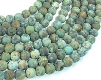 Matte African Turquoise, 8mm(8.6mm) Round Beads, 15 Inch, Approx 45 beads, Hole 1mm, A quality (110054007)
