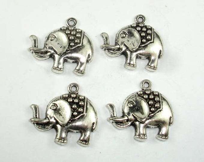 Elephant Charms, Elephant Pendant, Zinc Alloy, Antique Silver Tone, 24x22 mm, 4 pcs, Hole 1.7mm (006873022)