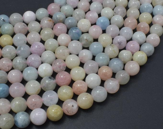 Beryl Beads, Morganite, Aquamarine, Heliodor, 8mm Round Beads, 15.5 Inch, Full strand, Approx 50 beads, Hole 1mm (133054013)