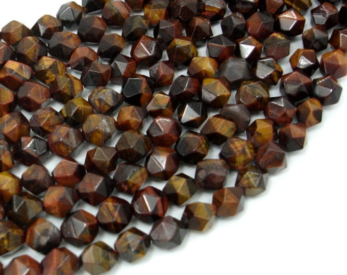 Red Tiger Eye, 8mm Star Cut Faceted Round, 15 Inch, Full strand, Approx 47 beads, Hole 1mm (383186001)