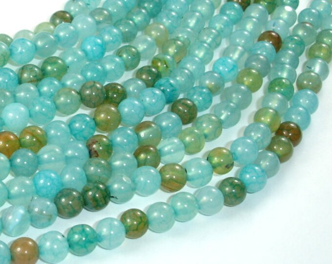 Dragon Vein Agate Beads, Sea Blue, 6mm(6.4mm) Round Beads, 15 Inch, Full strand, Approx 63 beads, Hole 1mm (122054001)