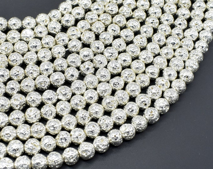 Lava-Silver Plated, 6mm (6.7mm) Round Beads, 15 Inch, Full strand, Approx 61 beads, Hole 1mm (300054049)